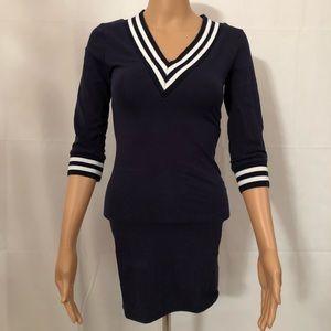 Rue 21 Navy& White striped Sporty Mini Dress.